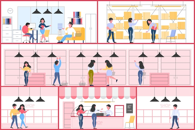 Lege winkel interieur. toonbank, planken en expositie.
