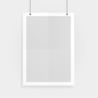 Lege witte a4-formaat vector papier mockup opknoping met paperclips. toon uw flyers, brochures, koppen enz. met dit zeer gedetailleerde realistische ontwerpsjabloonelement