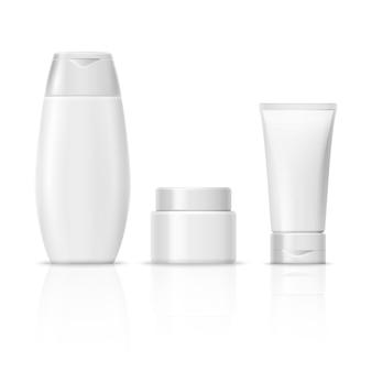 Lege witte cosmetica productverpakkingsset, crème buis, shampoo fles, crème container