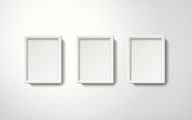 Lege witte fotolijsten collectie op een ordelijke manier opknoping aan de muur, 3d-afbeelding realistische stijl