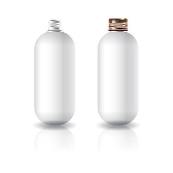 Lege witte ovale ronde cosmetische fles met schroefdeksel.