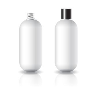 Lege witte ovale ronde cosmetische fles met zwart eenvoudig schroefdeksel.