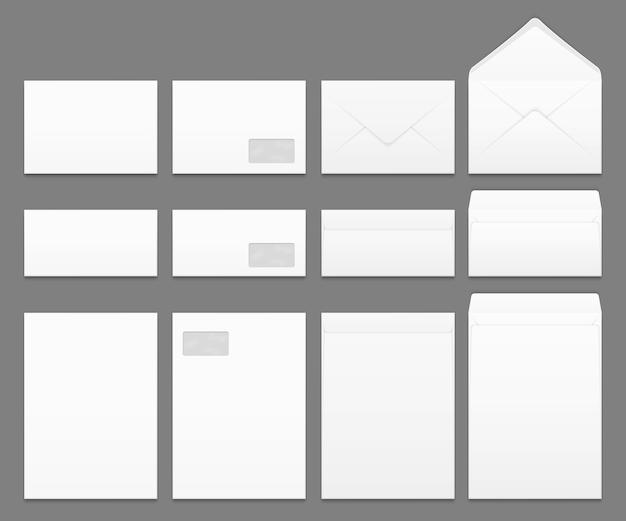 Lege witte papieren enveloppen vector sjablonen instellen