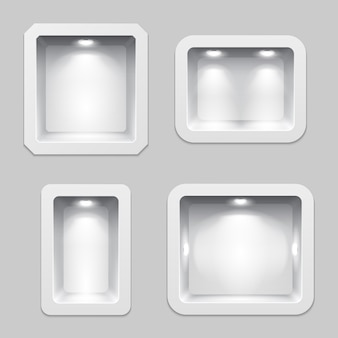 Lege witte plastic vakken of nis display, 3d expositie productschappen met verlichting.
