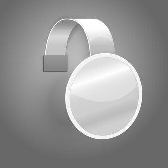 Lege witte plastic wobbler geïsoleerd op grijze achtergrond met plaats voor uw ontwerp en branding.