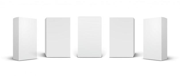Lege witte producten, cosmetische, medische verpakkingsdozen onder verschillende hoeken.