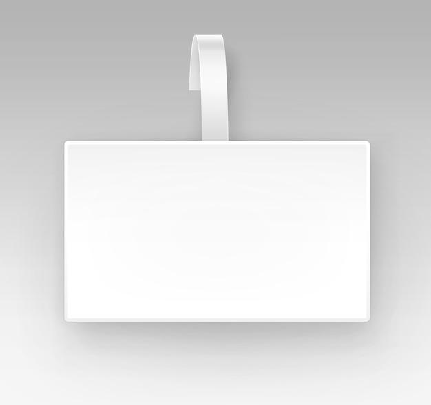 Lege witte vierkante papper plastic reclame prijs wobbler vooraanzicht geïsoleerd op achtergrond