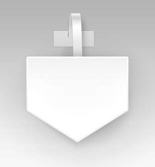 Lege witte vierkante pijl papper kunststof reclame prijs wobbler vooraanzicht geïsoleerd op achtergrond