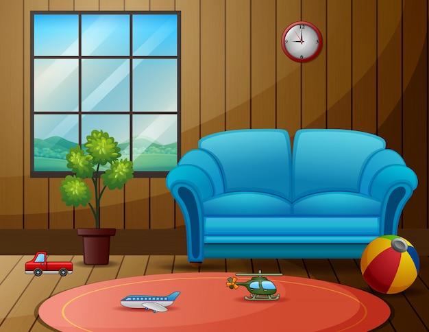 Lege woonkamer met het speelgoed van kinderen op de vloer