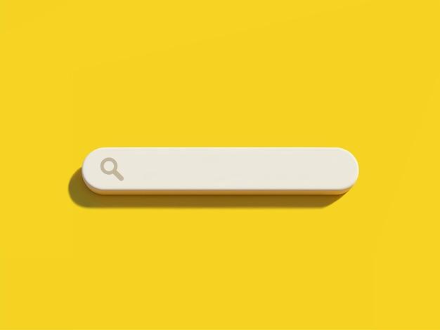 Lege zoekbalk op gele achtergrond 3d illustratie