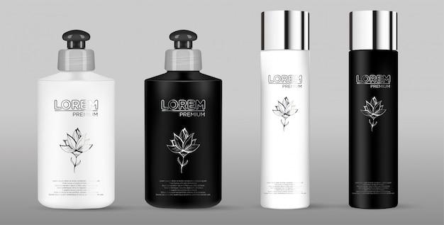 Lege zwart-witte cosmetische pakket set geïsoleerd op een grijze achtergrond