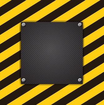 Lege zwarte plank op metalen achtergrond met verlichting. vector illustratie