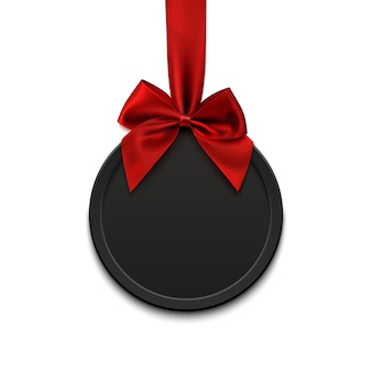 Lege, zwarte ronde banner met rood lint en boog, op witte achtergrond. illustratie.