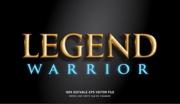 Legend warrior goud en glanzend blauw lettertype met teksteffect en bewerkbaar
