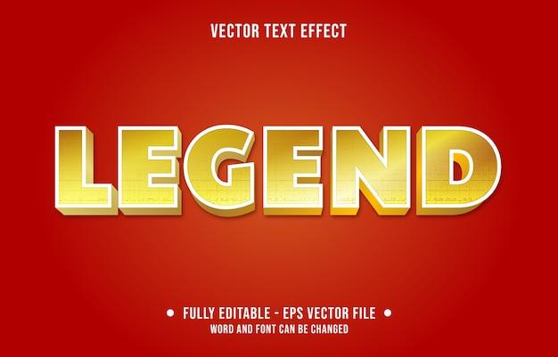 Legenda bewerkbaar teksteffect moderne gouden verloopstijl