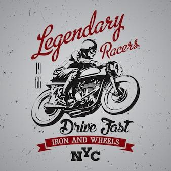 Legendarisch racersontwerp voor t-shirtprint