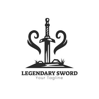 Legendarisch zwaard-logo-ontwerp