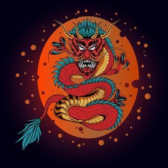 Legendarische chinese draak illustratie