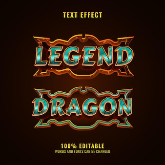 Legende en drakenfantasie middeleeuws rpg-spel logo teksteffect met frame
