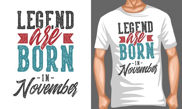 Legende wordt geboren in november belettering typografie citaten