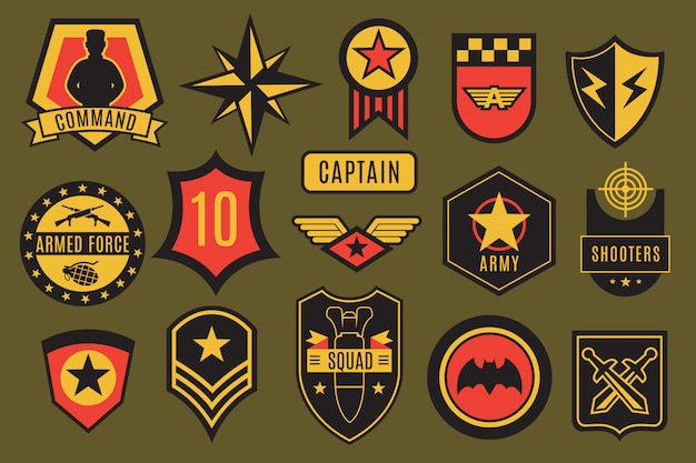 Leger badges. usa militaire patches en labels in de lucht. amerikaanse soldaatchevrons met typografie en ster vector set