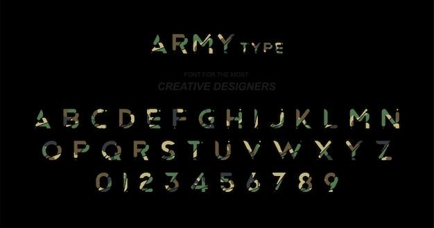 Leger originele lettertype een reeks letters en cijfers in camouflage