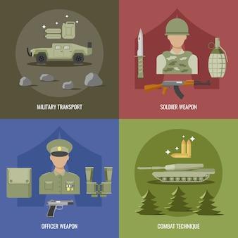 Leger plat ontwerp met militair transportwapen van officier en soldaat gevechtstechniek geïsoleerde vectorillustratie
