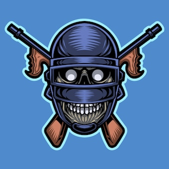 Leger schedel hoofd mascotte logo