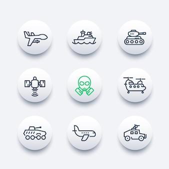 Legerlijn iconen set, militaire drone, luchtvaart, marine, gevechtsschip, satelliet, vrachthelikopter, gepantserde gevechtsvoertuigen