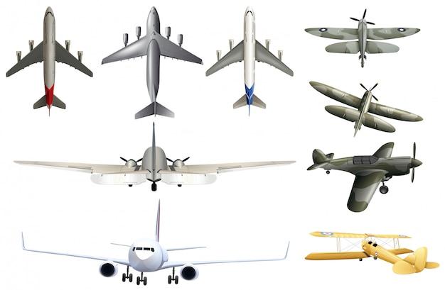 Legervliegtuigen op witte achtergrond