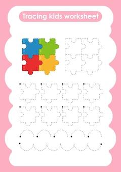 Legpuzzel traceer lijnen schrijven en tekenen oefenwerkblad voor kinderen
