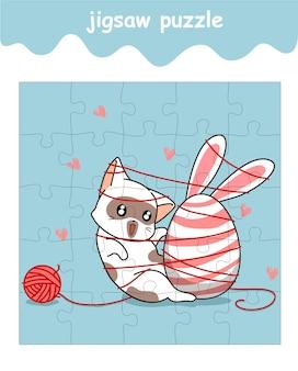 Legpuzzelspel van kat houdt van ei-cartoon
