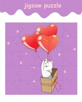 Legpuzzelspel van kat in de doos vliegt