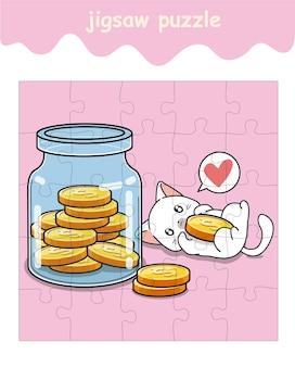 Legpuzzelspel van kat is dol op munten