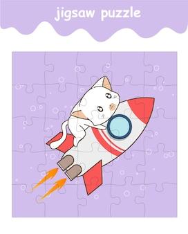 Legpuzzelspel van kat rijdt op raketcartoon