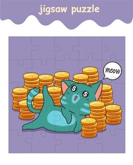 Legpuzzelspel van katten met een trommel