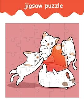 Legpuzzelspel van schattige beer en katten met hartcartoon