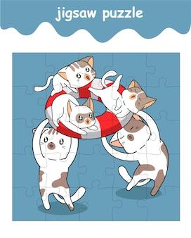 Legpuzzelspel van schattige cartoon kattenfamilie