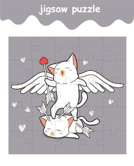 Legpuzzelspel van schattige cupido-kattencartoon