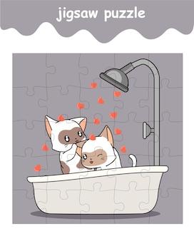 Legpuzzelspel van schattige katten die aan het baden zijn