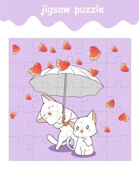 Legpuzzelspel van schattige katten die een paraplu met harten vasthouden