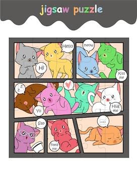 Legpuzzelspel van schattige kleurrijke kattencartoon