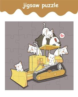 Legpuzzelspel van schattige panda en katten zijn op tractorcartoon