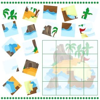 Legpuzzelspel voor kinderen cartoon met tropisch eiland en schip