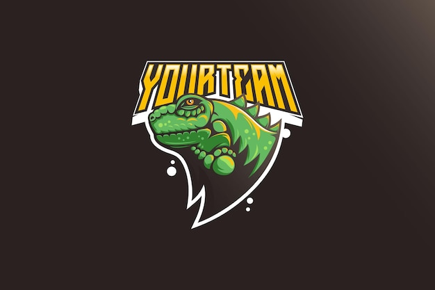 Leguaan esport mascotte logo ontwerp