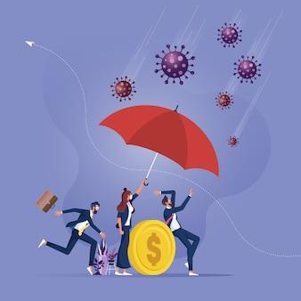 Leider beschermt zijn team zakenvrouw met paraplubescherming coronavirus