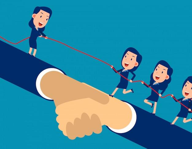 Leider helpt de andere ondernemer het doel te bereiken en te klimmen.