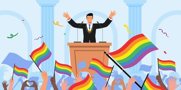 Leider houdt een toespraak over de maand van trots