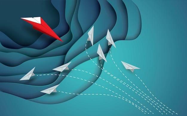 Leider van de rode papieren vliegtuigen toont verschillende ideeën.