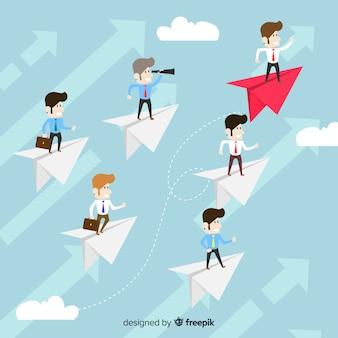 Leiderschap concept en ontwerp van papieren vlakken